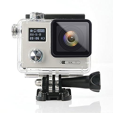 acekool 4K HD WiFi Action Kamera 16MP Dual Screen (5,1cm + 1,7cm) Wasserdicht Tauchen Kamera mit 170Grad Weitwinkel, 2PCS Batterien und gratis 19Zubehör-Kit silber
