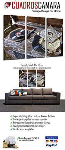 Musica Giradischi Vintage 26520 Quadro su Legno 97 x 62cm Dischi in Vinile Ref Stampa in qualita Fotografica