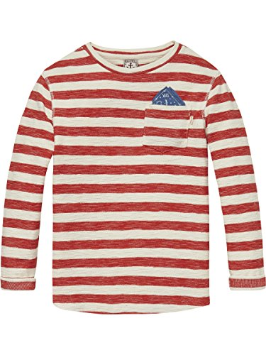 Scotch & Soda Shrunk Jungen Regular Fit T-Shirt Striped T-Shirt, Mehrfarbig (Combo A 217), Gr. 176 (Herstellergröße: 16) (Explorer L/s Shirt)