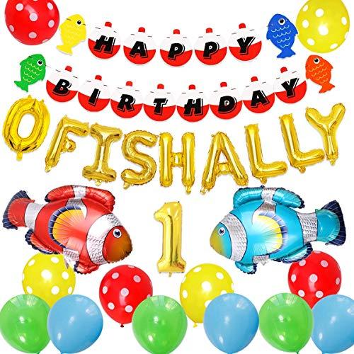 JOYMEMO Angeln ersten Geburtstag Dekorationen, O Fish Ally One Ballons Banner, Fisch Folienballons Angeln gegangen Little Fisherman The Big One Angeln 1. Birthday Party Supplies - Geburtstag Dekorationen Angeln