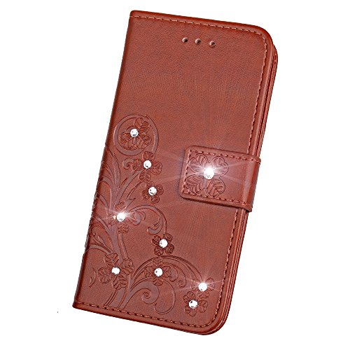 Custodia in pelle per Apple iPhone 7Plus, Ledowp goffrato trifoglio fiore modello pelle PU Flip Case per Apple iPhone 7Plus marrone Brown Brown