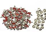 Weddecor 10x 8mm, Farbe: ab, Acryl mit Strass mit Zubehör für Rivet Nieten, Leder, zum Basteln, Designer-Gürtel, Kleidung, Taschen, Hunde-Halsbänder, metall, rot, 50