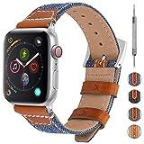 Fullmosa 4 Couleurs Bracelet Compatible avec Apple Watch Nylon Cuir, Élégant Nyte...