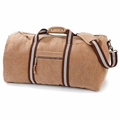 QUADRA-Borsa da viaggio in tela, vintage, 45 litri, QD613 misto uomo-donna Marrone marrone unica Beige