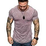 Tops Blouse Homme T-Shirt,T-Shirt Mode Casual Shirt pour Hommes Chemise Slim Shirt à Manches Courtes personnalité Top Respirant Absorbant et Absorbant l'été - Tee Shirt Manches Courtes Homme