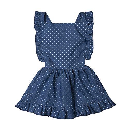 Kinder Polka Dot Kleider,Cowboy Kostüm Baby Mädchen Kleidung Schulter Rock Kleinkind Kinder Kleidung Prinzessin Sleeveless Rüschen Kleid Outfit Ostergeschenk Festliche Kleider 6M-4Y(Blau,90) (Blau Polka Dot Kleid Kostüm)