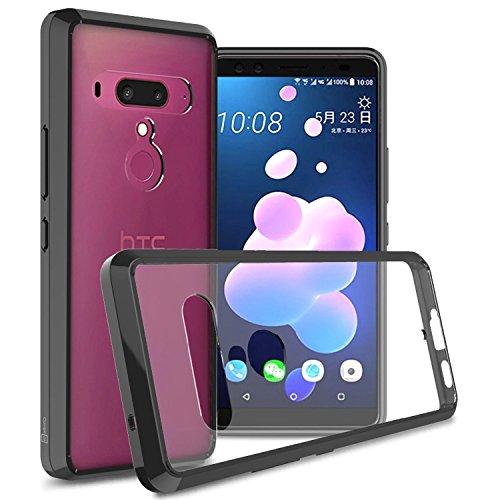 HTC U12Plus Klar Fall, coveron [Clearguard Serie] Slim Fit Handy Abdeckung mit Transparent Hartschale und TPU Stoßstangen für HTC U12Plus, Schwarz