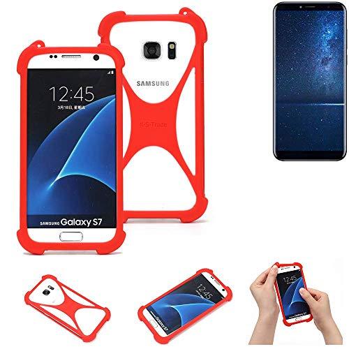 K-S-Trade® Handyhülle Für Cubot X18 (2017) Schutzhülle Bumper Silikon Schutz Hülle Cover Case Silikoncase Silikonbumper TPU Softcase Smartphone, Rot (1x)