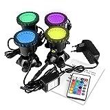 ONEVER ha condotto il riflettore subacqueo con il telecomando Le luci multicolori RGB dell'acquario 4pcs con la spina dell'UE. IP68 impermeabile l'illuminazione del serbatoio dei pesci del giardino
