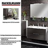 Fackelmann Badmöbel Set Scera 4-tlg. 100 cm weiß grau mit Waschtischunterschrank mit Gussmarmorbecken & Midischrank & Spiegelelement