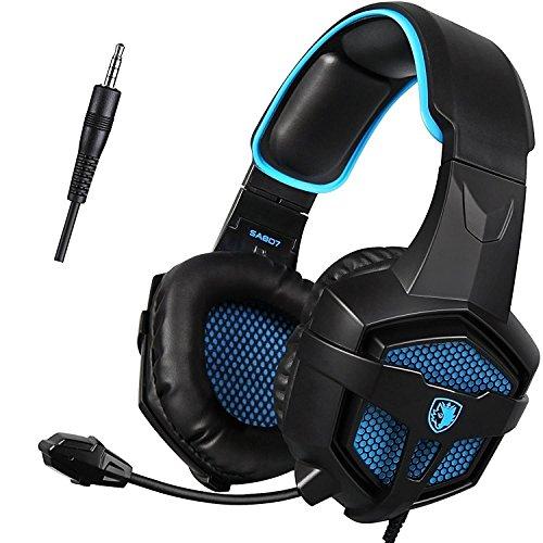 Gaming Headset, Sades SA807 PS4 XBOX ONE Kopfhörer Gaming, Over-Ear-Kopfhörer Mit Mikrofon, In-Line-Lautstärkeregelung, PC /MAC /PS4 /XBOX ONE (Schwarz & Blau)