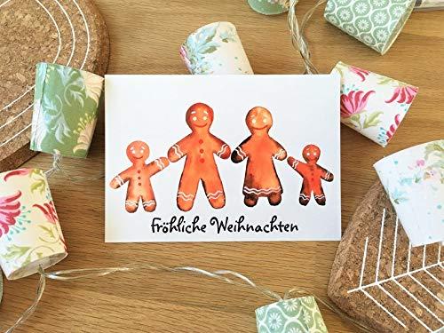"""Postkarte Weihnachten\""""Lebkuchenmann\""""\""""Fröhliche Weihnachten\"""" Aquarell Weihnachtskarte Grußkarte Karte Pfefferkuchenmann"""