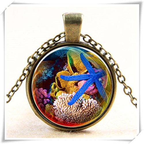 (Zimmerdekorations-Welt Seestern Shell Coral Glas Foto Kunst Anhänger Kette Halskette)