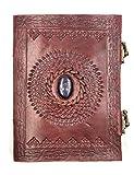 Kooly Zen - Carnet, bloc notes, journal, livre, Cuir Véritable, Vintage, Fermoir Métal, Lapis Lazuli, 15cm X 20cm, papier premium