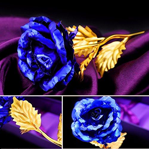 Inovey Créative Rose D'or 24 K Feuille d'Or Rose Anniversaire Cadeau De Fête De Mariage Fleur Décor À La Maison Bleu + Or