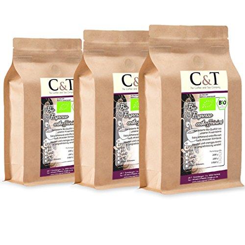 C&T Bio Espresso Crema | Cafe entkoffeiniert 100{f326ba5efe0b5ba6f2c1a39f646e8d98747b1d5b72c60703da840bfb6334b0c1} Arabica 3x1000 g ganze Bohnen Gastro-Sparpack im Kraftpapierbeutel