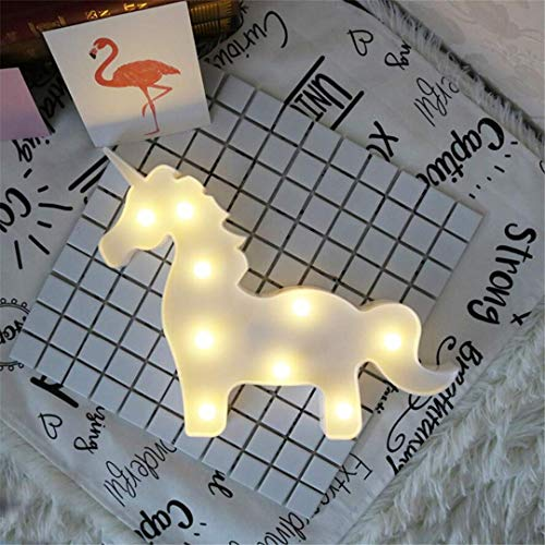 QiXian Lumière de Nuit Licorne Tête Tir LED Lumières Décoratives Accessoires Table Lampe Rêve Tenture Murale Chambre de Style Enfants Lumière de Nuit