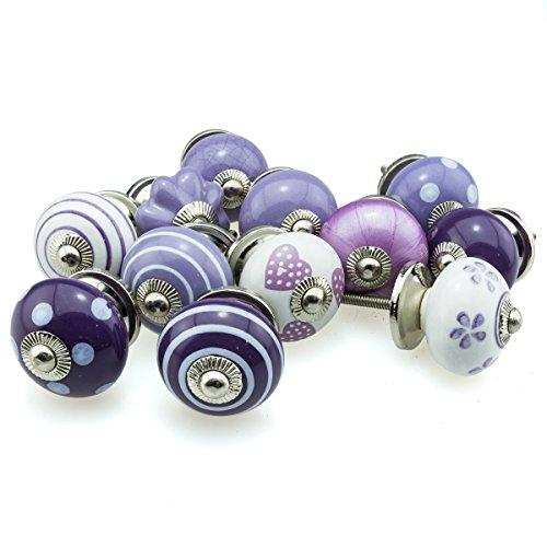 Möbelknopf Möbelknauf Möbelgriff Set 12er_12-12003 lila violet Keramik Porzellan handbemalte Vintage Möbelknöpfe für Schrank, Schublade, Kommode, Tür - Jay Knopf