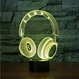 FaceToWind Acryl-Nachtlicht USB Lade LED-Licht 3D-visuelle Gaming-Headset Form Bunte Touch-Fernbedienung Lichter, Touch und Fernbedienung
