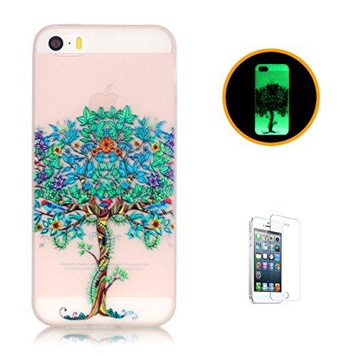 CaseHome iPhone SE/5S/5 Luminous Hülle (Mit Frie Displayschutzfolie) Leuchtende Silikone Rückhülle Für iPhone 6 6s Plus 5.5 Zoll Zoll Silikon Etui Handy Hülle Weiche Transparente Luminous TPU Back Cas Baum des Lebens