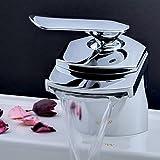 Mischbatterie Waschtischarmatur Wasserhahn Wasserfall Chrom Einhebelmischer für Waschbecken Bad