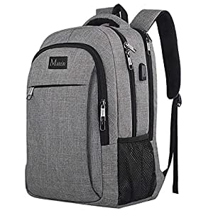 Travel Laptop Backpack, Professional Business Backpack Bag with USB Charging Port, Slim Lightweight Laptop Bag, Water Resistant School Rucksack for Women Men, Fits 15.6 Inch Laptop and Notebook-Grey