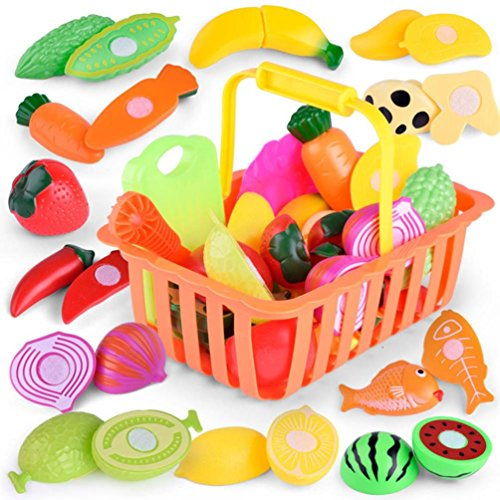 Pretend Toys Clode� Creative Funny Cutting Fruit Vegetable Cake Pretend Play Children Kid Educational Toy (1Set 24 pcs)