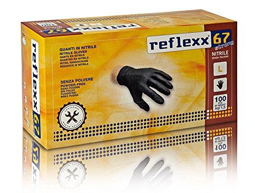 REFLEXX R67/XXL puderfrei Nitril Handschuhe Gr 5.5, Gr. XXL, schwarz (100Stück)