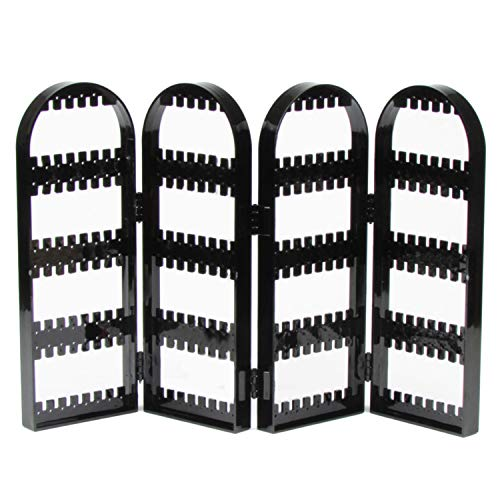 Aretes de joyería de plástico plegable de 4 paneles Espárragos Soporte de exhibición Organizador de porta bastidores con 240 agujeros para la tienda Window Mall Home