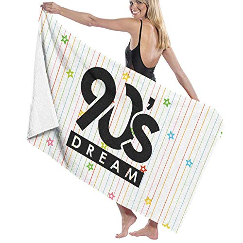 Cleaer asciugamani da spiaggia oversize, telo da bagno a righe da 90 anni dream stars wrap womens spa doccia e asciugamani avvolgenti accappatoio da nuoto copricostume per ragazze - bianco