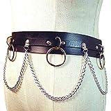 Ferrell 635/5000donne Faux in pelle Cintura con catena in metallo Punk Street Dance Party vita Ornament marrone