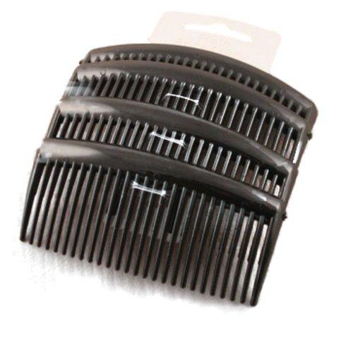 Set of 4 Black Plain Hair Combs Slides 9cm (3.5\\