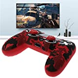 ATuniby Camouflage Shell f¨¹r PS4 Controller mit Griff Fall Joystick Caps Anti Slip Silikon Gamers Weihnachtsgeschenk (Rot)