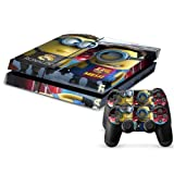 MightySticker® PS4 Designer Skin Game Console System + 2 Controller Decal Vinyl Protective Covers Stickers f Sony PlayStation 4 - Despicable Me 2 Funny Minions Stuart Dave Messi Ronaldo Overalls by MightySticker®