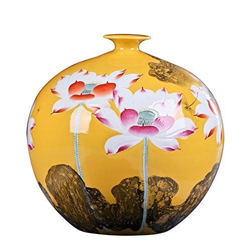"""Chino jarrón de porcelana flores oficina en casa Decor hecho a mano y pintada a mano de porcelana con diseño de flores (21""""x15)"""