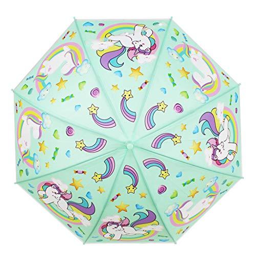 Unicornio Paraguas de niños - Paraguas para niños niñas - Brolly de cúpula Resistente al Viento y Resistente - Apertura de Seguridad - 5 a 12 años - Diseño Unicornio