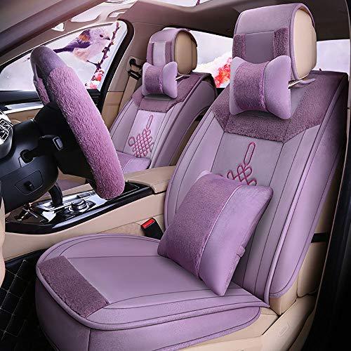 Coprisedile Per Auto Compatibile Con Airbag, 5 Posti Anteriori E Posteriori Caldi Set Completo Di Protezioni Coprisedili Per Stagioni Auto in Peluche Universali,Vio