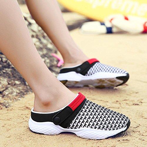 Sabots Mules été couple à l'extérieur chaussures plates chaussures décontractées chaussures à trous chaussures paresseuses demi-pantoufles Black