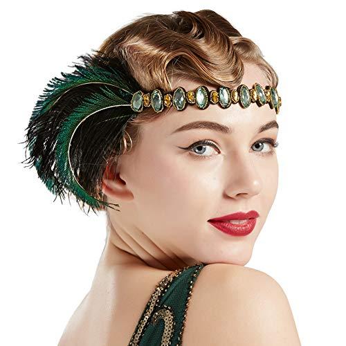 Kostüm Und Daisy Gatsby - Coucoland Damen 1920s Feder Stirnband 20er Jahre Stil Flapper Haarband Great Gatsby Damen Fasching Kostüm Accessoires (Schwarz Grün)