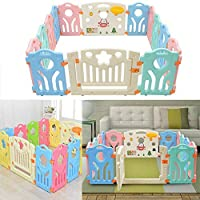 Bshop Baby Playpen Castle Infant with Doors Panel & Interactive Play Panel