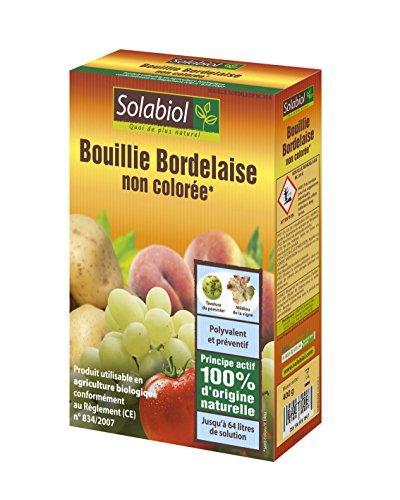 Solabiol SOBOU400 Bouillie Bordelaise 400g - Non Colorée - Traitement Mildiou, Tavelure Cloque | Utilisable en Agriculture Biologique