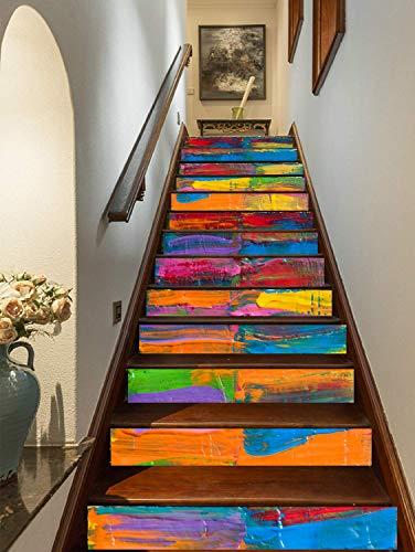 FLFK 3D Pintura Al óleo Arco Iris auto-adhesivos Pegatinas de Escalera pared pintura vinilo Escalera calcomanía Decoración 39.3 pulgadas x7.08 pulgadas X 13Piezas