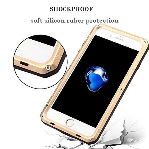 iphone 7 Plus Hülle Feitenn Aluminum Metall Case Cover Wasserdicht Staubdicht Stoßfest Schutzhülle Handyschutz Mit Standfunktion Leicht Günstig Handyhülle Für Apple iphone 7 Plus - Silber Gold