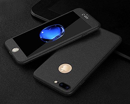 Custodia iPhone 7 4.7,Ukayfe Full Body Cover 360 gradi Protezione per iPhone 7 Silicone Morbida, [2 in 1] Completa Case Vetro Trasparente Screen Protector Film Ultra Resistente per iPhone 7 Flexible T Roccia Nera