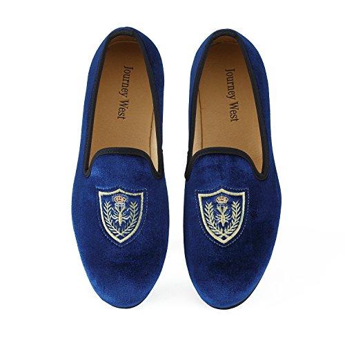 Veste en velours vintage Flâneur hommes broderie Noble Hommes Chaussures à enfiler Flâneur fumer Chaussons Noir/Bleu Blau Schild
