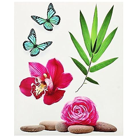Promobo - Planche Lot 5 Stickers Deco Zen Galets Fleur