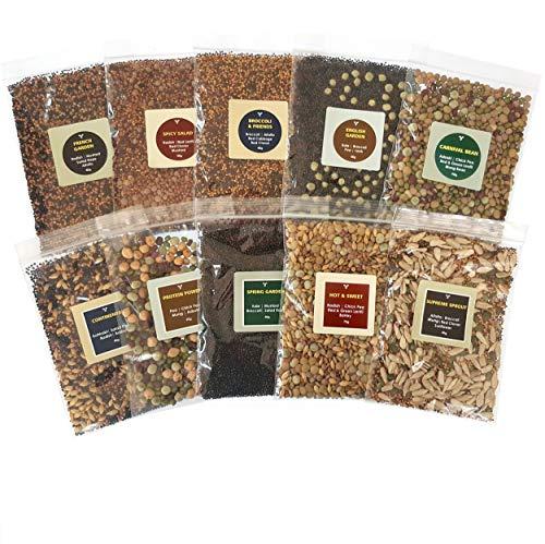 Bio- Sprossen- Samen- Mix Seedelicious Supreme | 20 Gemüse-Samen mit Alfalfa, Rettich, Erbsen, Brokkoli | Schnell wachsendes Superfood für besonders gesunde Ernährung | 10 vorgemischte Päckchen | 500g -
