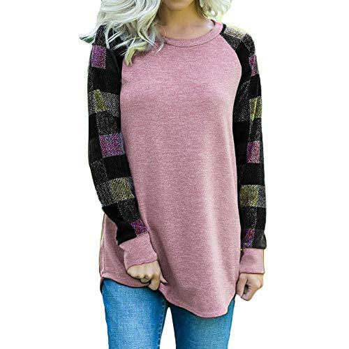 TianWlio Langarm Bluse Damen Frauen Mode Lässige Übergröße Frauen Langarm Plaid Print Bluse Top T-Shirt