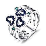 Jewelrypalace Amor Corazón 0.2ct Spinel Blue Synthetic Nano Russian Emerald Anillo sintético abierto ajustable de plata de ley 925