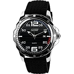 CIVO Mens Big Face Fashion Sports Watch 30M Waterproof Analogue Quartz Military Wrist Watches Casual Business Classic Simple Luxury Design Date Calendar Black Silicone Band